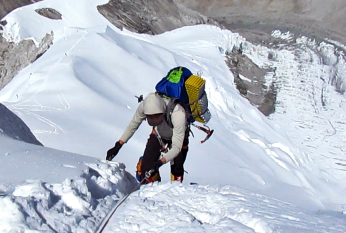 Topping the ice cliff on Cho Oyu