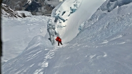 Rappelling down from Camp 3 Annapurna